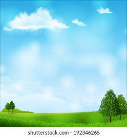 Vector illustration - summer landscape - meadow and trees. EPS 10