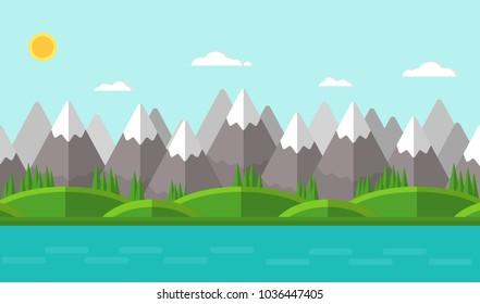 Vector illustration. Summer mountain landscape. Flat design.