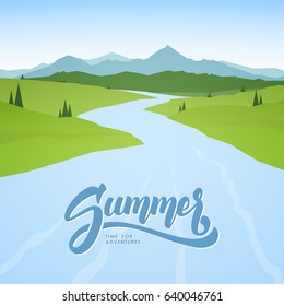Vector illustration: Summer mountains background with river on foreground.