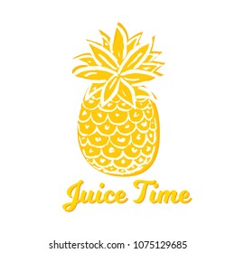 Vector Illustration. Summer pineapple. Tropical decorative fruit on white background. Hand draw paint ananas with Juice Time