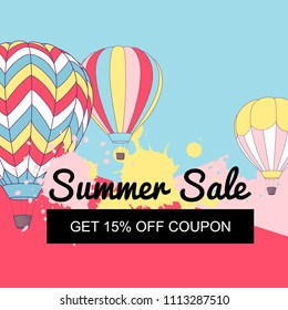 Vector illustration, Summer Sale banner design with retro hot air balloons.