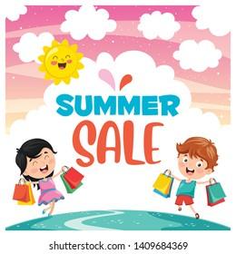 Vector Illustration Of Summer Sale Design