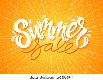 Vector illustration: Summer sale hand drawn vector lettering. Composition of Summer sale with sun flare on bright background for your advertisement.