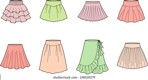 Vector illustration of summer skirts. Women's clothes