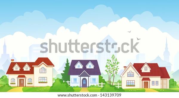 Vector illustration of summer suburbs