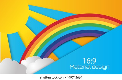 Vector illustration  of Summer sun with clouds and rainbow background. Paper cut style. 16:9