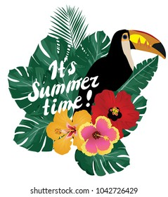 vector illustration of summer time with toucan bird, flowers