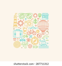 Vector illustration with summer and vacation related icons in trendy linear style - poster or print template