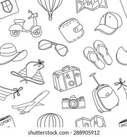 Vector illustration Summer vacation sketch doodle seamless pattern. Black and white