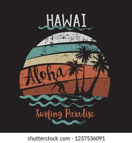 Vector Illustration Summer Vacation Wave Surfing Paradise Hawaii Fashion Design Tropical Tshirt Graphic with Typography Aloha