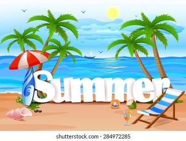 vector illustration of Summer wallpaper background
