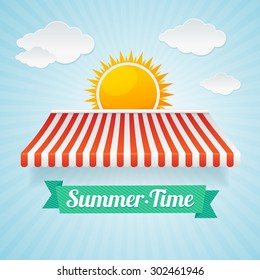 Vector illustration summertime card. The concept of vacation, trade in the holiday season. Flat design style