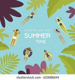 Vector illustration. Summertime poster. Place for text. Longboard woman surfing, girl swimming, people relax, man and woman on inflatable swim ring. Top view, bird's-eye