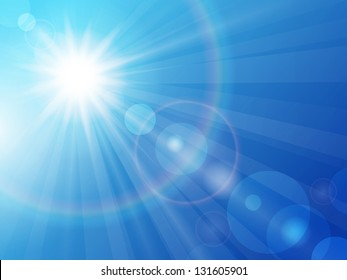 Vector illustration sun in the blue sky