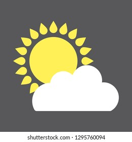 Vector illustration of а sun and cloud isolated on a gray background.Flat forecast icon of a mainly cloudy weather.