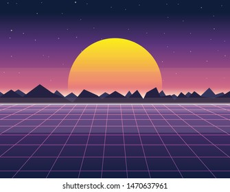 Vector illustration of sun and digital landscape in retro futuristic background 1980s style