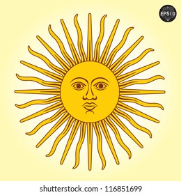 Vector illustration of Sun with faces