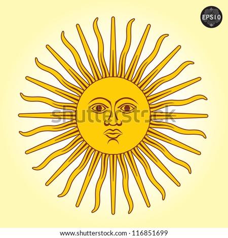 vector illustration sun faces のベクター画像素材 ロイヤリティ
