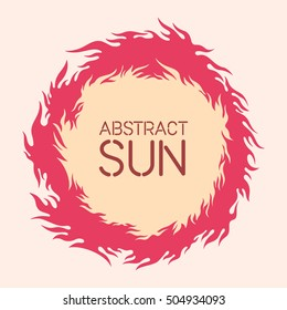 Vector illustration of the sun. Fire circle frame. Sun shape or flame border with space for text. Fire flames of different shapes isolated on background.
