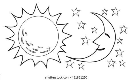 vector illustration sun moon black 260nw