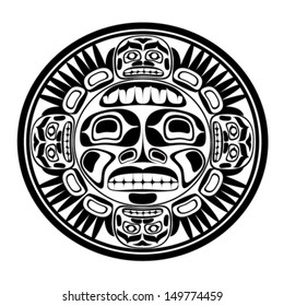 Vector illustration of the sun symbol. Modern stylization of North American and Canadian native art in black and white