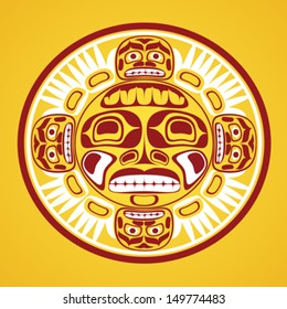 Vector illustration of the sun symbol. Modern stylization of North American and Canadian native art in traditional colors
