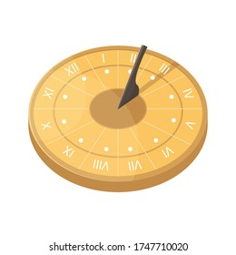 Vector illustration with a sundial. An ancient way of determining time.