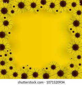 Vector illustration of sunflowers. 3D Yellow background. Spring print.