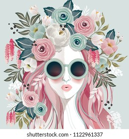 Vector illustration of a sunglasses girl with floral headdress in spring for Wedding, anniversary, birthday party. Design for banner, poster, card, invitation and scrapbook