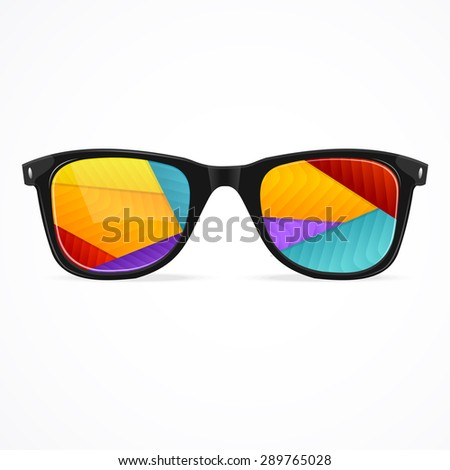 ef653284f4e Vector Illustration sunglasses rainbow abstract background isolated on a  white