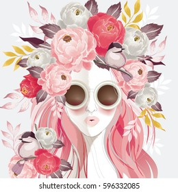 Vector illustration of a sunglasses woman with floral bouquet on her hair in spring for Wedding, anniversary, birthday and party. Design for banner, poster, card, invitation and scrapbook