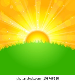 Vector illustration sunrise over field
