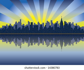 A vector illustration of sunrise over Manhattan from the Hudson River.