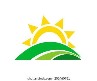 Vector illustration of sunrise sun