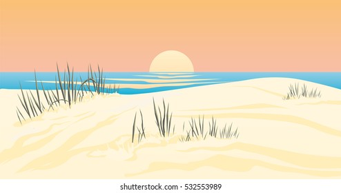 Vector Illustration of a sunset beach with blue ocean water and orange sky wonderful scene of holiday landscape with sand dune