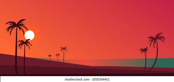vector illustration of  sunset beach with palms