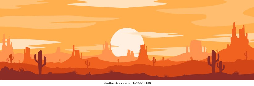 Vector illustration of sunset desert landscape. Wild Western Texas desert sunset with mountains and  cactus in flat cartoon style.