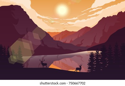 Vector illustration of Sunset mountains landscape with forest and two deer near a lake