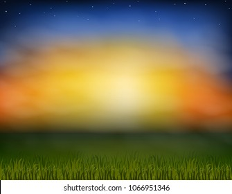 Vector illustration. Sunset natural landscape, natural color framed.Grass glade, lawn. Thick grass green, the sky blurred the horizon line, painting the clouds for product design EKO