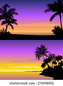 Vector illustration of a sunset on beach