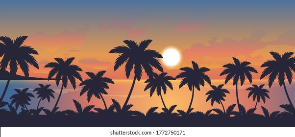 vector illustration of sunset over the ocean and palm beach