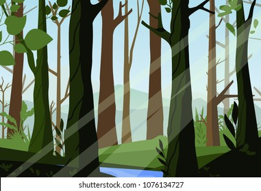 Vector illustration of sunset in the woods, beautiful forest, light through the trees in the forest, morning time, nature landscape in flat style.