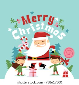 A vector illustration of super cute retro santa claus and his elves along with merry christmas phrase floating above in winter wonderland scene.