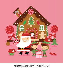 A vector illustration of super cute retro santa claus and his elves in front of whimiscal gingerbread house with gifts and candies.