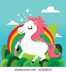 A vector illustration of a super cute unicorn in magical land with rainbow.