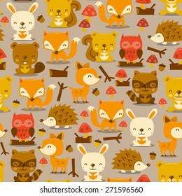 A vector illustration of super cute woodland creatures seamless pattern background.