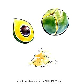 Vector illustration of super food Lucuma fruit. Organic healthy dietary supplement. Black outlines and bright watercolor stains and drips. Isolated hand drawn objects on white background.