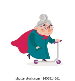 Vector illustration super grandmother.  Granny on a scooter.