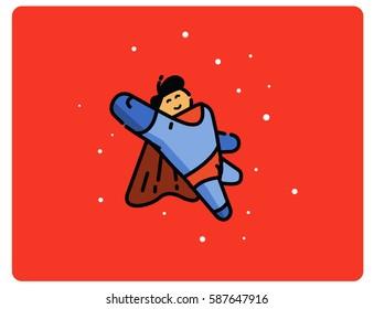 Vector illustration of super hero cartoon character, Power man Superhero flat icon