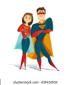 vector illustration of super man and super woman hero. superhero family. characters man and